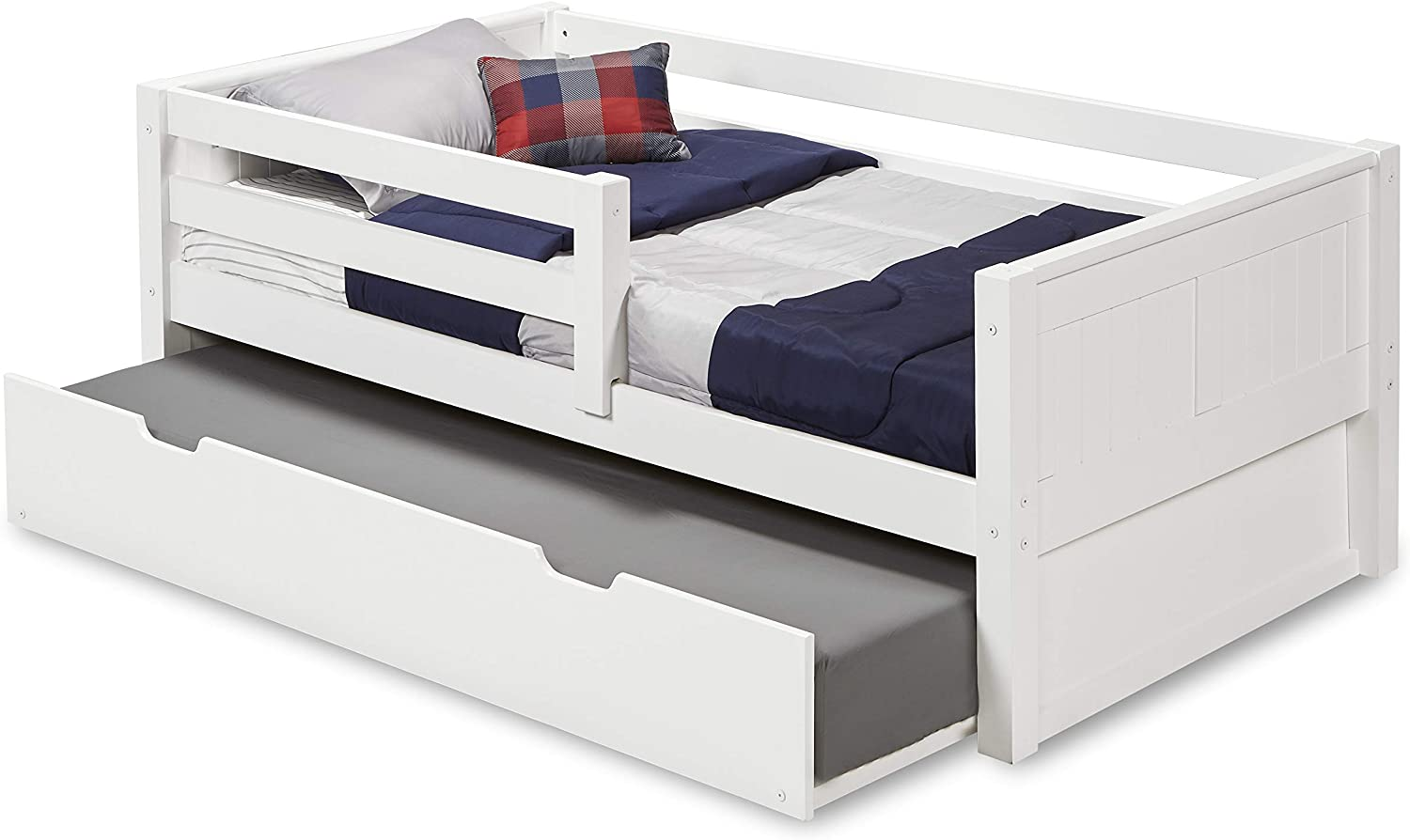 Camaflexi Panel Style Solid Wood Day Bed with Drawers and Front Rail Guard