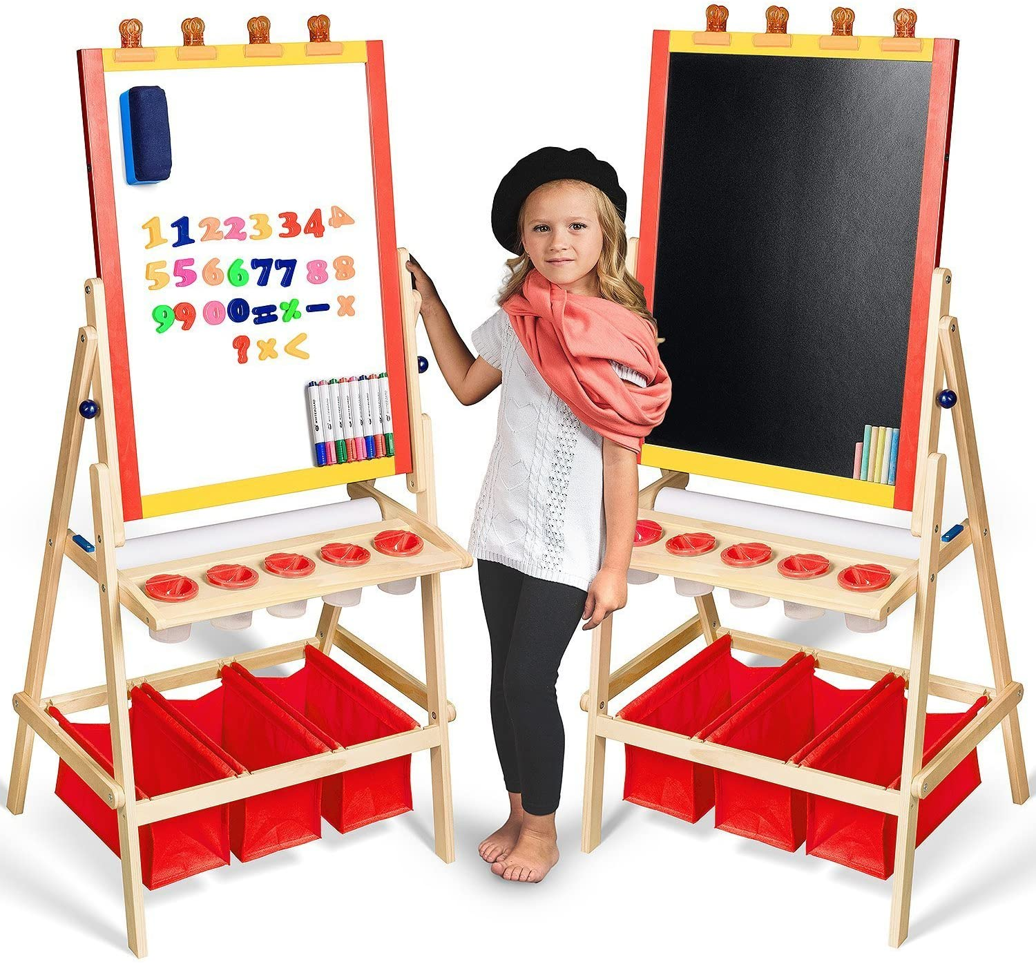 Kids Easel with Paper Roll & Art Supplies