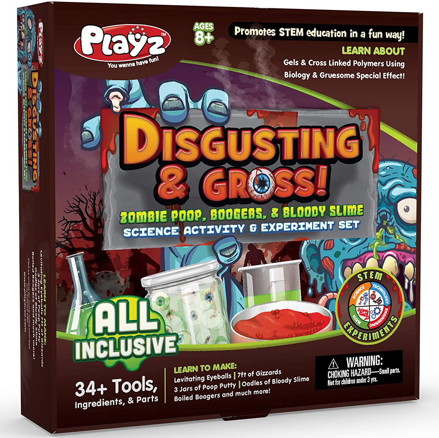 Playz Disgusting and Gross Zombie Farts, Boogers and Blood Slime Science Set